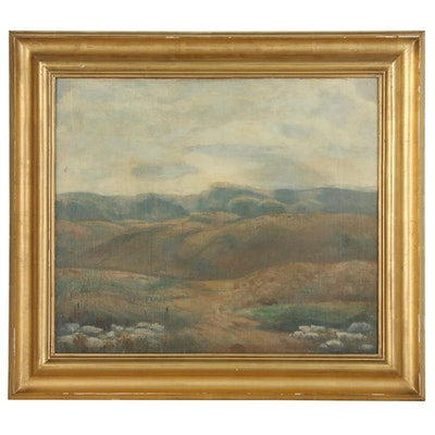 """Kenneth Hayes Miller Oil Painting """"Folded Hills"""", circa 1911"""
