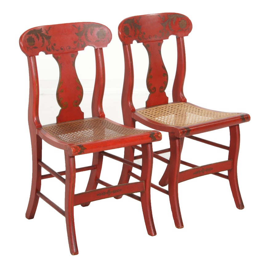 Pair of Empire Period Paint-Decorated and Caned Seat Side Chairs