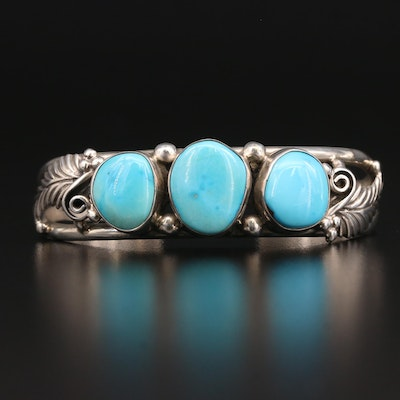 Abraham Begay Navajo Diné Sterling Turquoise Cuff Bracelet