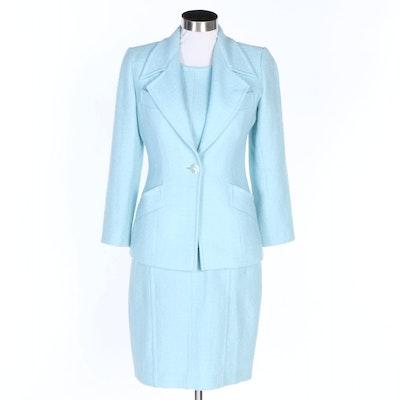 Yves Saint Laurent Light Blue Knit Dress Suit
