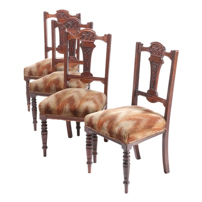 English Victorian, Eastlake Style Carved Walnut Side Chairs, Late 19th Century