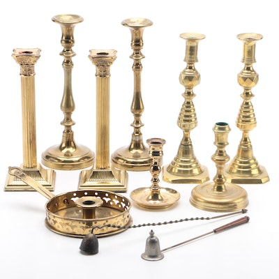 Virginia Metalcrafters, Baldwin and Other Brass Candlesticks and Snuffers