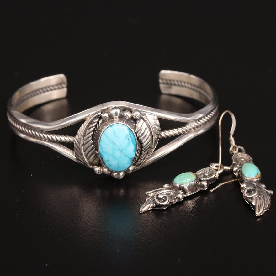 Sterling Silver Turquoise Jewelry Including Roie Jaque Navajo Diné