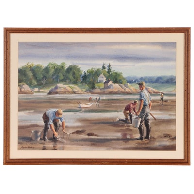 Gordon Hope Grant Watercolor Painting of Clam Digging