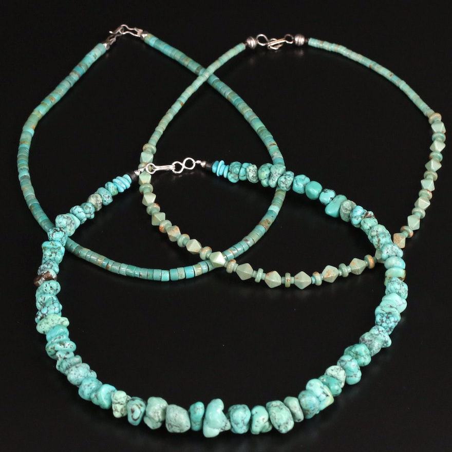 Southwestern Turquoise Beaded Necklaces with Sterling Silver Clasp