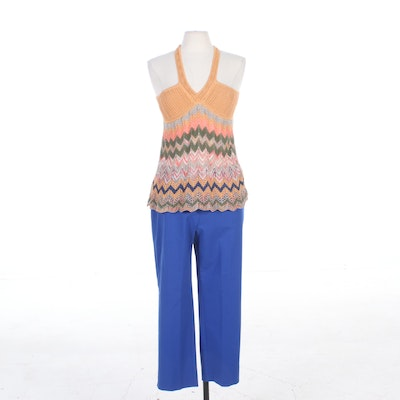 Missoni Crocheted Tank Top and St. John Blue Slacks