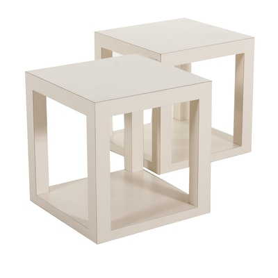 Pair of Modern White Laminate Open Cube End Tables