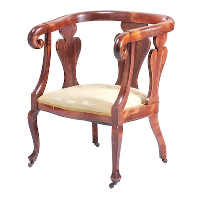 Colonial-Revival Birch Arm Chair, Early 20th Century