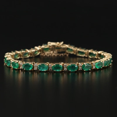 14K Yellow Gold Emerald and Diamond Line Bracelet