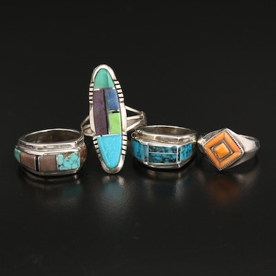 Southwestern Sterling Rings with Spiny Oyster, Turquoise and Lapis Lazuli