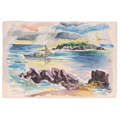 "Ernest Fiene Watercolor Painting ""Gull Island, Maine"", circa 1957"