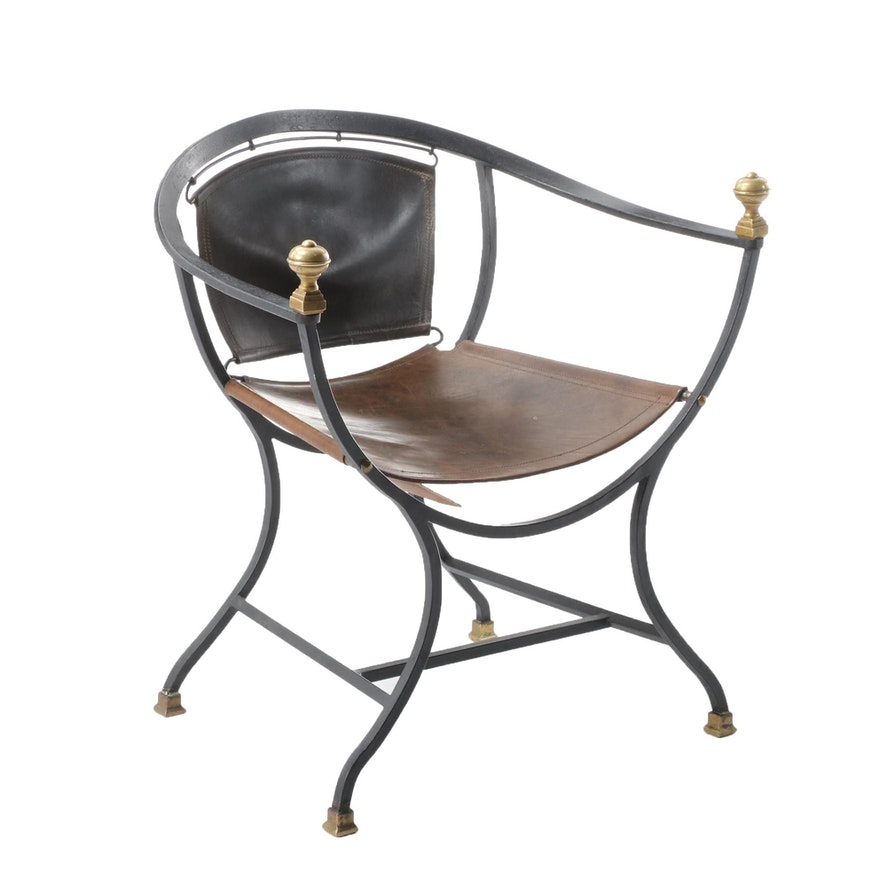 Italian Wrought Iron, Brass and Leather Savonarola Chair, Mid-20th Century