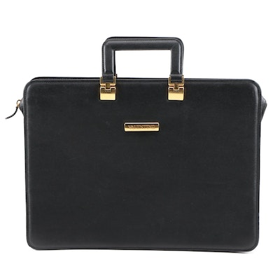 Valentino Le Sacs Black Textured Leather Briefcase