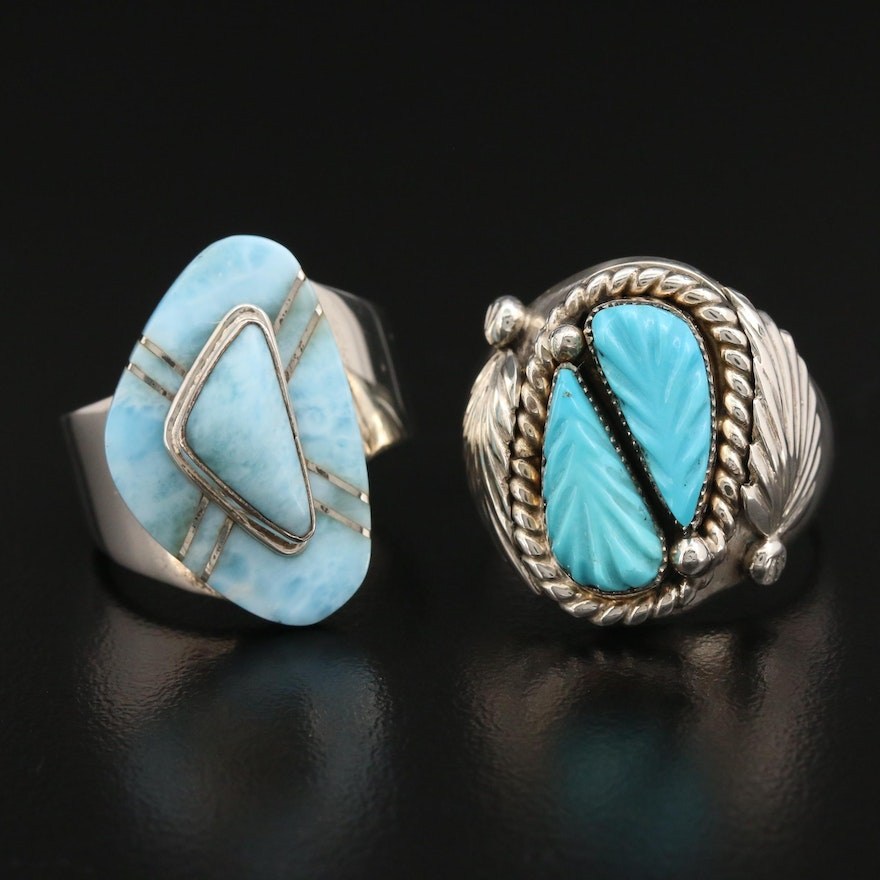 Robert Eustace Zuni and Betty Thomas Navajo Diné Sterling Rings