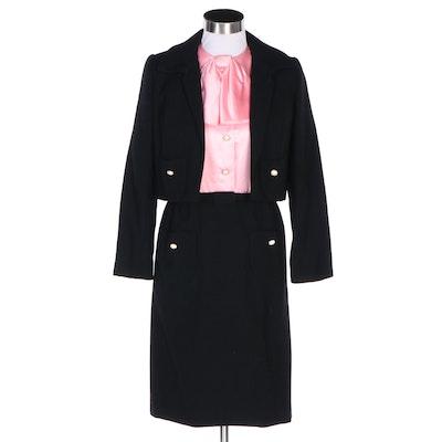 Nat Kaplan New York Pink Satin and Black Wool Dress Suit, 1960s Vintage