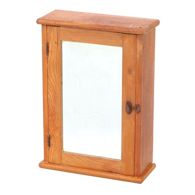 American Primitive Stripped Pine and Mirrored Glass Wall Cabinet