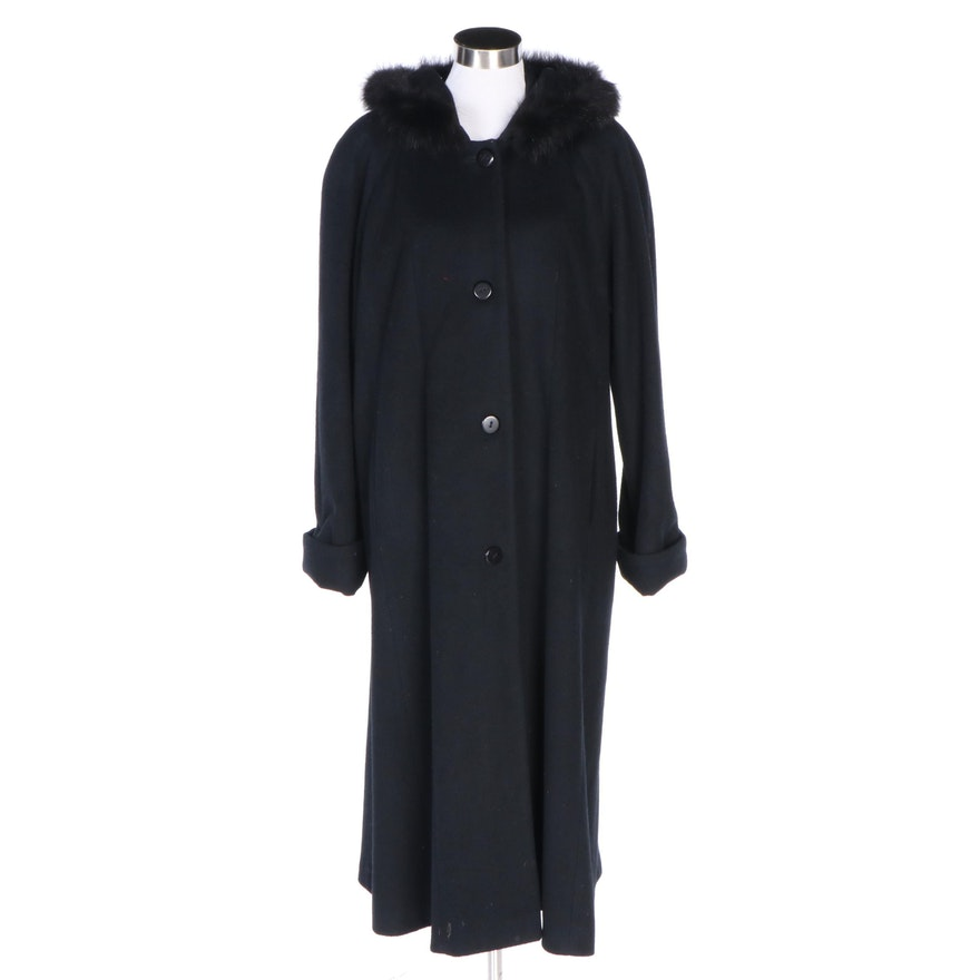 Beau Brem Black Wool Hooded Coat with Fox Fur Trim