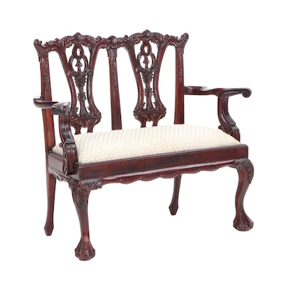 Chippendale Style Mahogany Miniature Double Chairback Settee