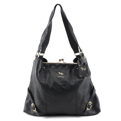 Emma Fox Black Grained Leather Buckle Strap Kiss Lock Shoulder Tote