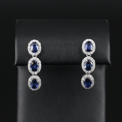 14K White Gold Sapphire and 0.82 CTW Diamond Earrings