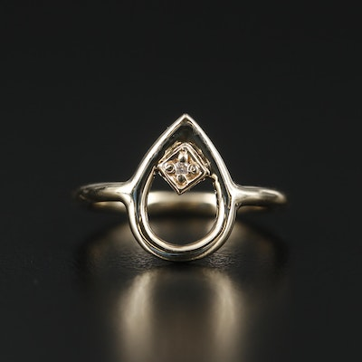 14K Yellow Gold Diamond Pear Shaped Ring