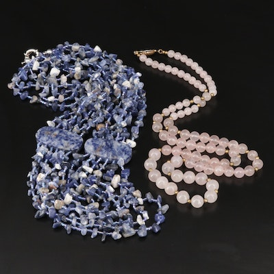 Necklace Selection Featuring Rose Quartz, Glass, and Sodalite