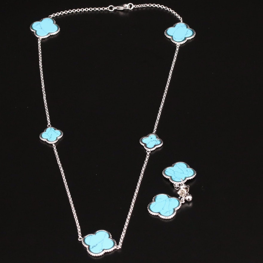 Sterling Silver Turquoise Quartrefoil Station Necklace and Earrings Set