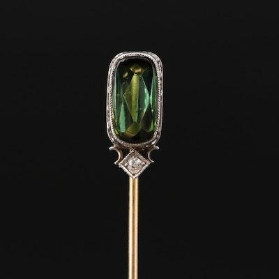 Edwardian Platinum and 14K Yellow Gold Tourmaline and Diamond Stick Pin