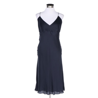 Ralph Lauren Navy Blue Silk Evening Slip Dress