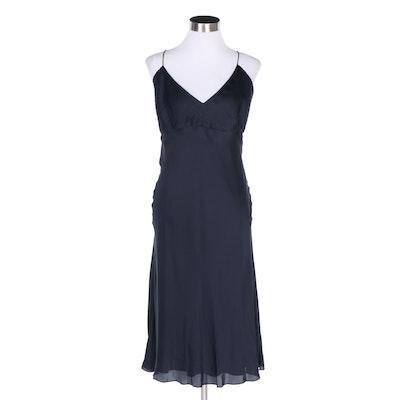Ralph Lauren Black Label Navy Blue Silk Evening Slip Dress