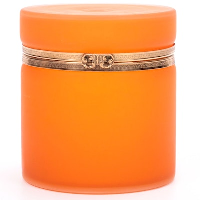 Orange Satin Glass Lidded Jar, Mid to Late 20th Century