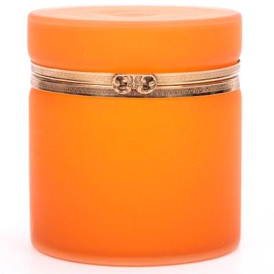 Orange Satin Glass Lidded Jar, Mid to Late 20th Century