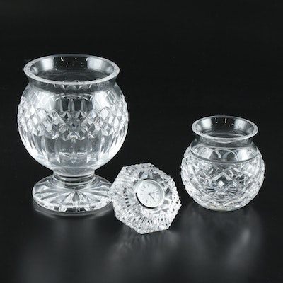 """Waterford Crystal """"Lismore"""" Diamond Clock and """"Giftware"""" Vases"""