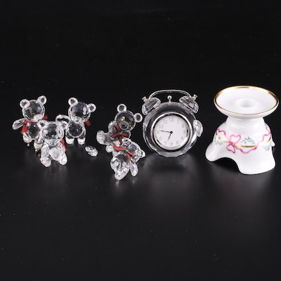 Swarovski Crystal Clock and Bear Figurines with Porcelain Candle Holder