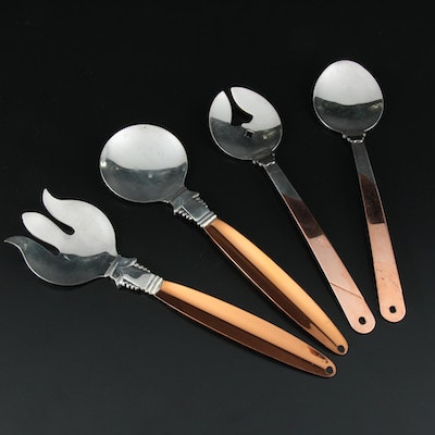 Coppercraft Guild Silver Plate and Copper Salad Utensils