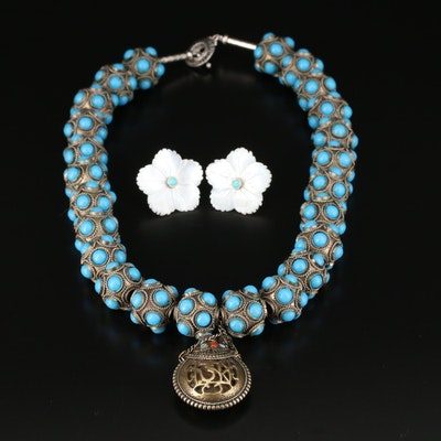 Mother of Pearl Earrings and Imitation Turquoise, Imitation Coral Necklace