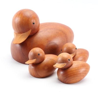 Theodor Skjøde Knudsen Danish Modern Carved Wood Duck Family