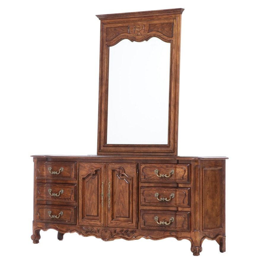 Century French Provincial Style Oak Chest of Drawers, Mid to Late 20th Century