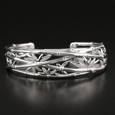 Fine Silver Diamond Bamboo Motif Cuff Bracelet