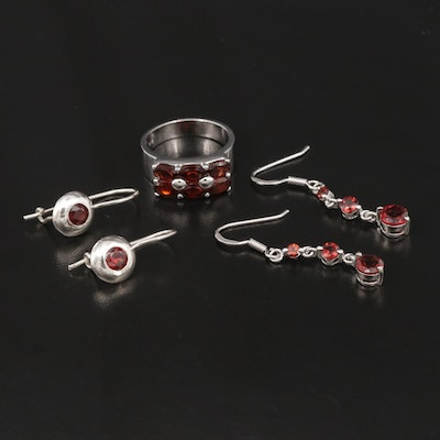Sterling Silver Garnet Ring and Earrings