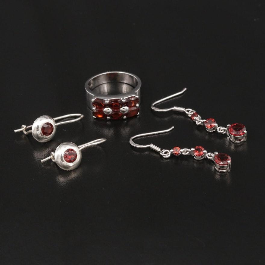Sterling Silver Garnet Ring and Earrings