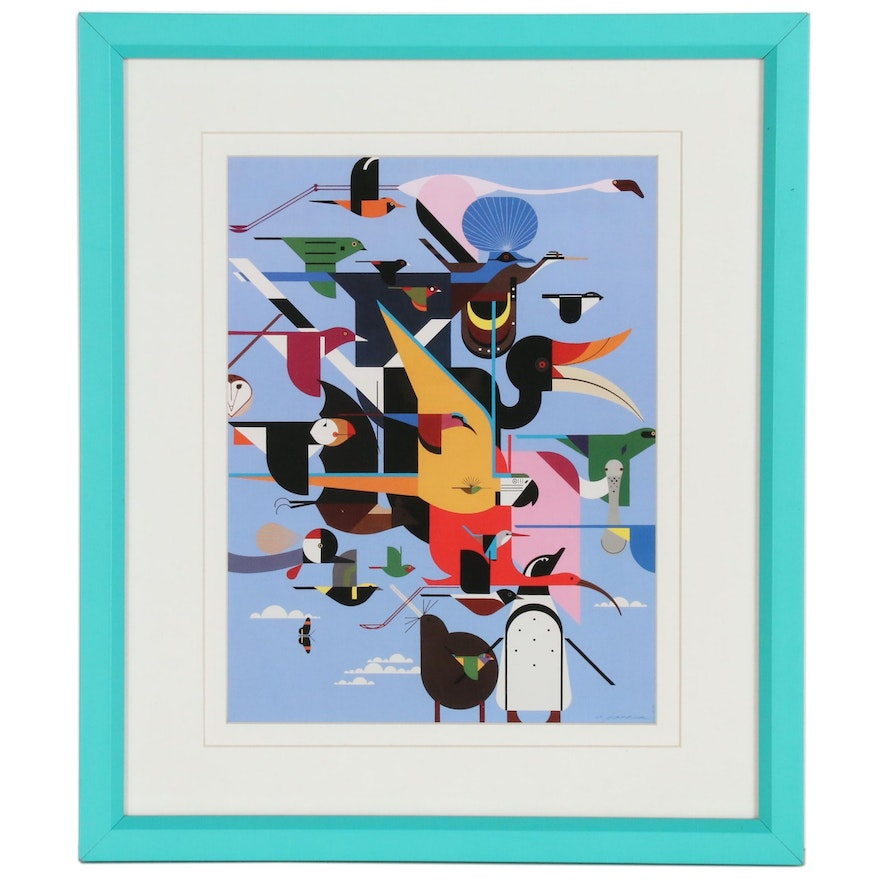 """Offset Lithograph after Charley Harper """"Wings of the World"""""""