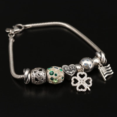 Sterling Silver Charm Bracelet Including Pandora Disneyland Charm