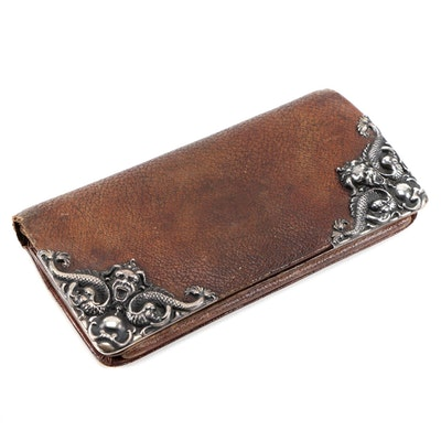 Leather Bifold Wallet with Sterling Silver Baroque Dolphin Corners, Vintage