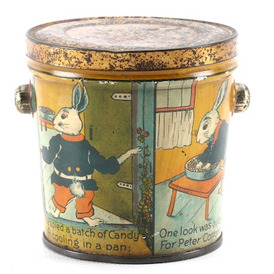 Lovell & Covel Tin Lithograph Peanut Butter Pail with Peter Rabbit Cottontail
