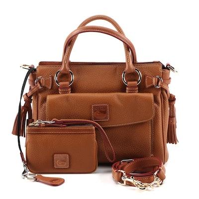 Dooney & Bourke Tan Pebbled Leather Pocket Two-Way Satchel, Wristlet & Key Ring
