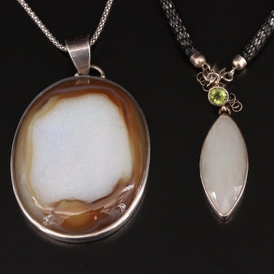 Sterling Silver Druzy, Peridot and Moonstone Necklaces