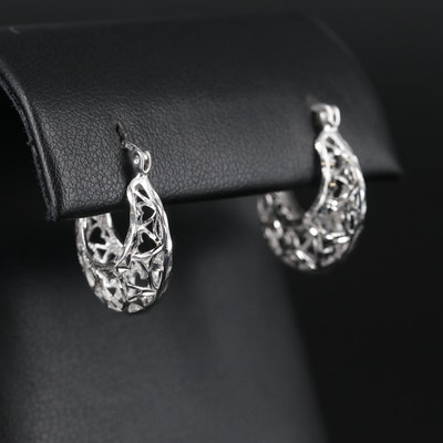 Sterling Silver Hoop Earrings with Diamond Cut Design