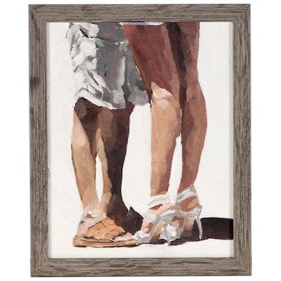 "James Coates Oil Painting ""Kissing Legs"""
