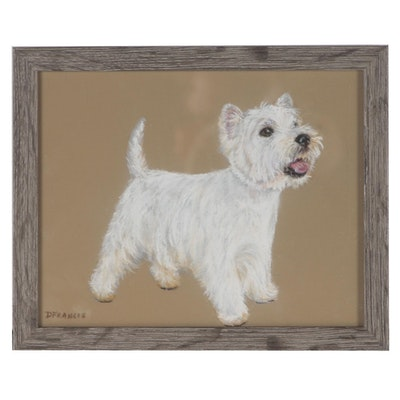 "Donna Francis Pastel Drawing ""West Highland White Terrier Dog Pup"""